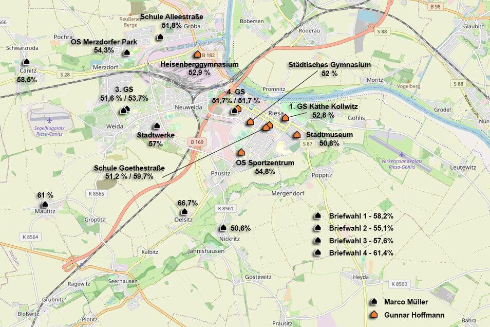 Die Grafik zeigt, welcher Kandidat bei der Riesaer OB-Wahl am 4. Juli welchen Wahlbezirk in der Stadt gewonnen hat – samt des gerundeten Stimmanteils, mit dem der Gewinner den Bezirk für sich entschieden hat.
