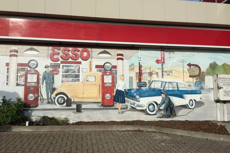 Diese Wandmalerei ist an der Leipziger Straße in Dresden zu sehen.