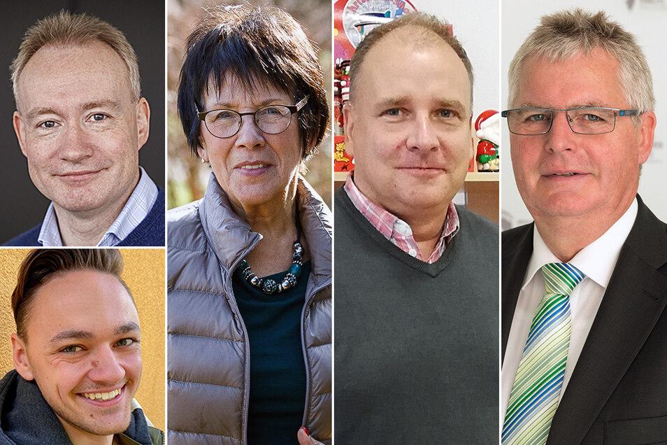 Sebastian Beutler, Renate Schwarze, Mathias Hoinkis, Bernd Lange (von links) und Nick Schwarz (unten links) berichten über die Lehrer ihres Lebens.