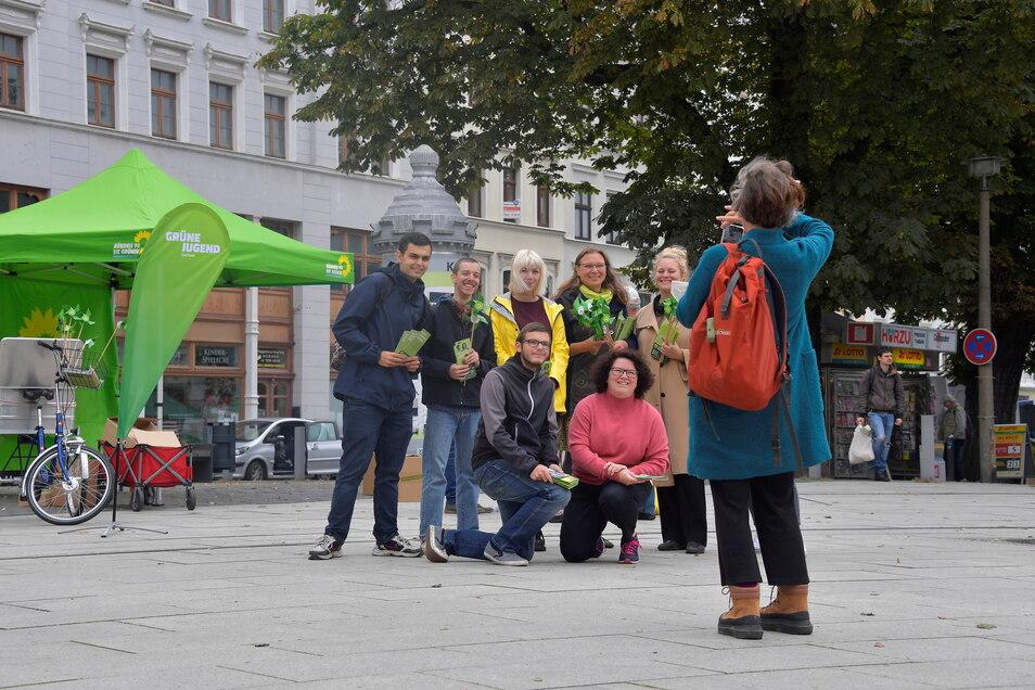 Die Wahlkämpferinnen und Wahlkämpfer der Grünen wirken zuversichtlich, dass sie bei dieser Bundestagswahl besser abschneiden als 2017 mit 4,6 Prozent Zweitstimmenanteil.