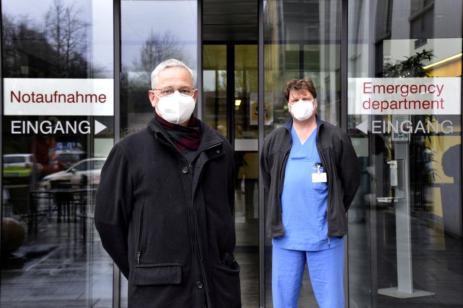Dr. Harald Schmalenberg und Dr. Mark Frank vom Städtischen Klinikum in Dresden versorgen täglich Dutzende Corona-Patienten.