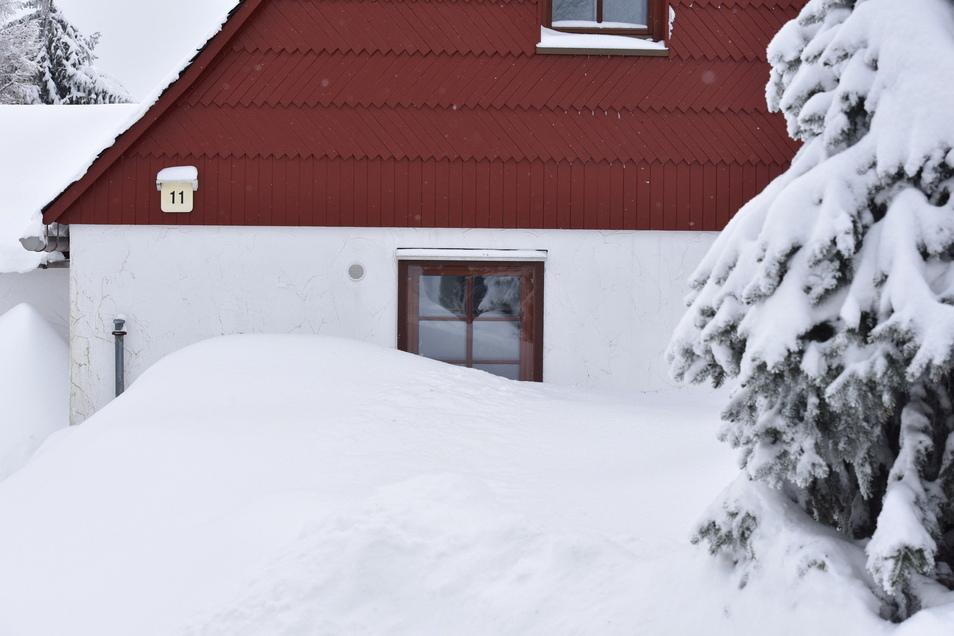 """Der Februar brachte nicht nur wie hier in Zinnwald ordentlich Schnee. Auch im Tiefland war es weiß. Doch dann kam der """"Februar-Sommer""""."""