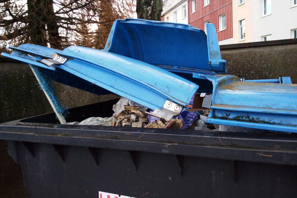 Auch Mülltonnen werden früher oder später Müll wie hier in Altenberg an der Teichstraße.