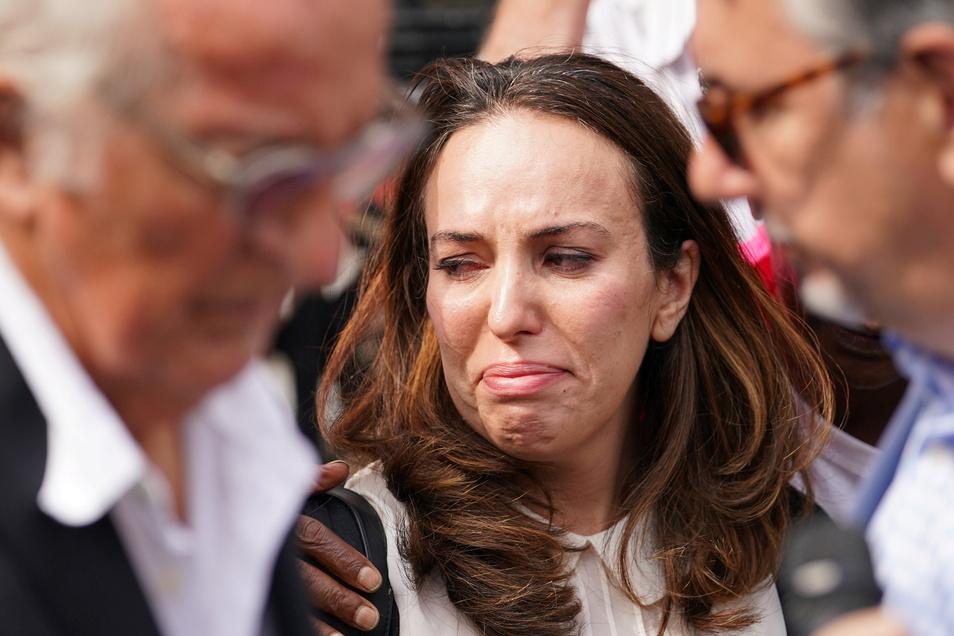 tella Moris, Juristin im ehemaligen Anwaltsteam von Assange und Mutter seiner zwei Söhne, reagiert nach der ersten Anhörung im Verfahren um Assanges Auslieferung.