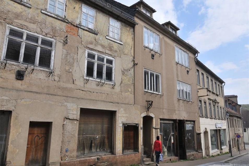 Die Mühlstraße in Roßwein sieht traurig aus. Mehrere Grundstücke hat die Stadt schon erworben, damit später ein geförderter Abriss möglich ist. Findet sich für den Wiederaufbau ein Investor, könnten an dieser Stelle sogar kleine Eigenheime entstehen, die