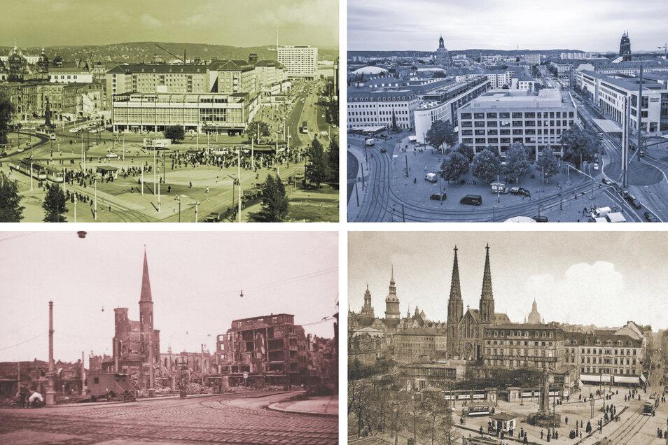 Der Postplatz in Dresden im Wandel der Jahrzehnte