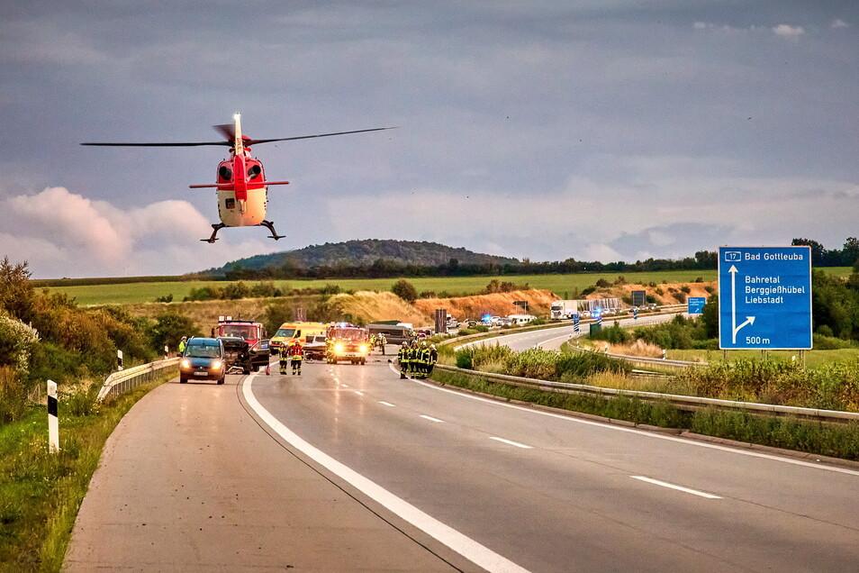Die A17 musste in Richtung Dresden für mehrere Stunden gesperrt werden