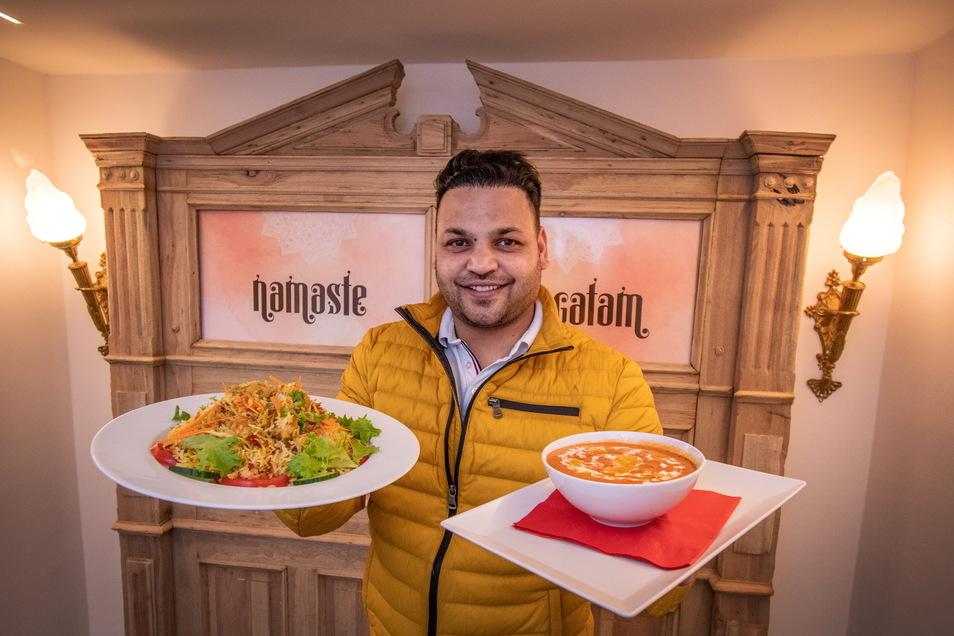 """Vinod Kumar hofft darauf, dass er in seinem indischen Restaurant """"Namaste"""" an der Döbelner Bahnhofstraße bald Gäste empfangen kann."""