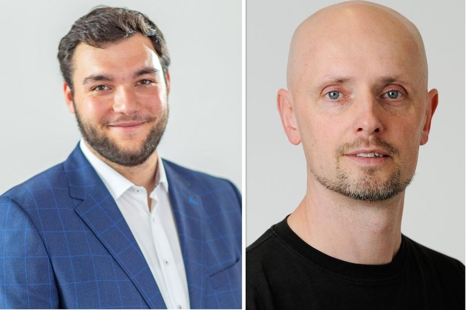 Unterschiedliche Meinungen zum neu geplanten Einkaufsstandort in Hartha: Erik-Holm Langhof, Volontär aus Döbeln und Dietmar Thomas, Fotograf aus Hartha.