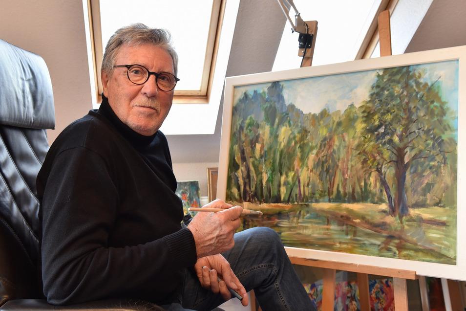 Reimar Börnicke in seinem Atelier im Dresdner Stadtteil Kleinzschachwitz.