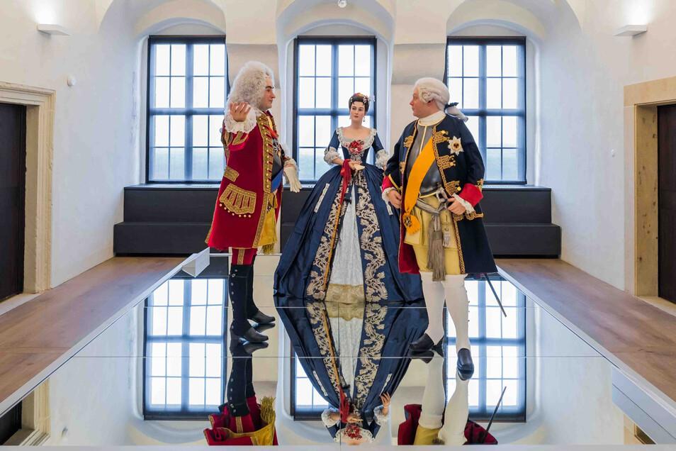 """In der Dauerausstellung """"In lapide regis"""" treffen Besucher auf August den Starken, Gräfin Orzelska und König Friedrich Wilhelm I. (v.l.)."""