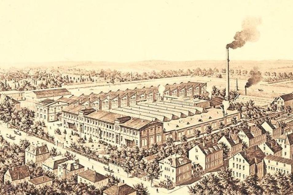 Die Druckerei der Gebrüder Weigang an der Löbauer Straße um 1900. Das Kontorhaus steht an der linken Ecke, daneben schließt sich der Taucherfriedhof an. Bei der Abbildung ist allerdings etwas künstlerische Freiheit dabei. Abbildung: Museum Bautzen