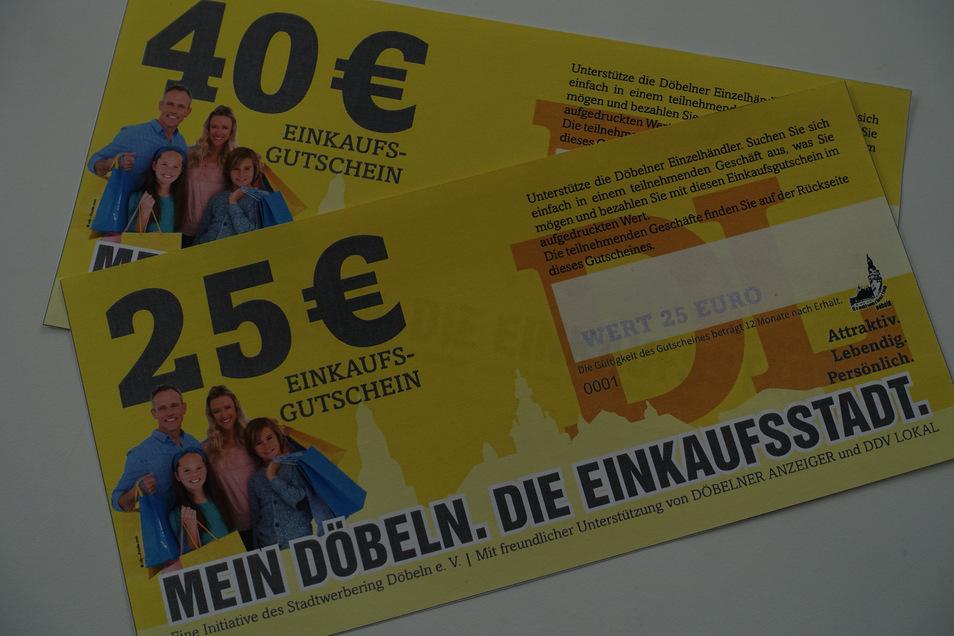 Die Gutscheine über 25 und 40 Euro können bei Mitgliedern des Stadtwerberings eingelöst werden. Derzeit beteiligen sich etwa 30 Geschäfte an der Aktion.