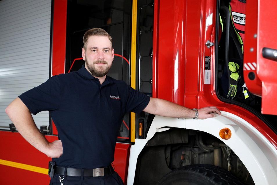 Robert Gudat ist Stadtwehrleiter in Riesa – und damit Chef von 36 angestellten und rund 100 ehrenamtlichen Feuerwehrleuten.