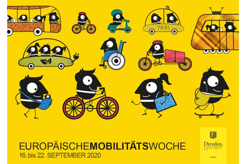 Edda und Edgar, die Maskottchen der Mobilitätswoche, stehen für alternative Mobilität in der Stadt zum eigenen Auto.
