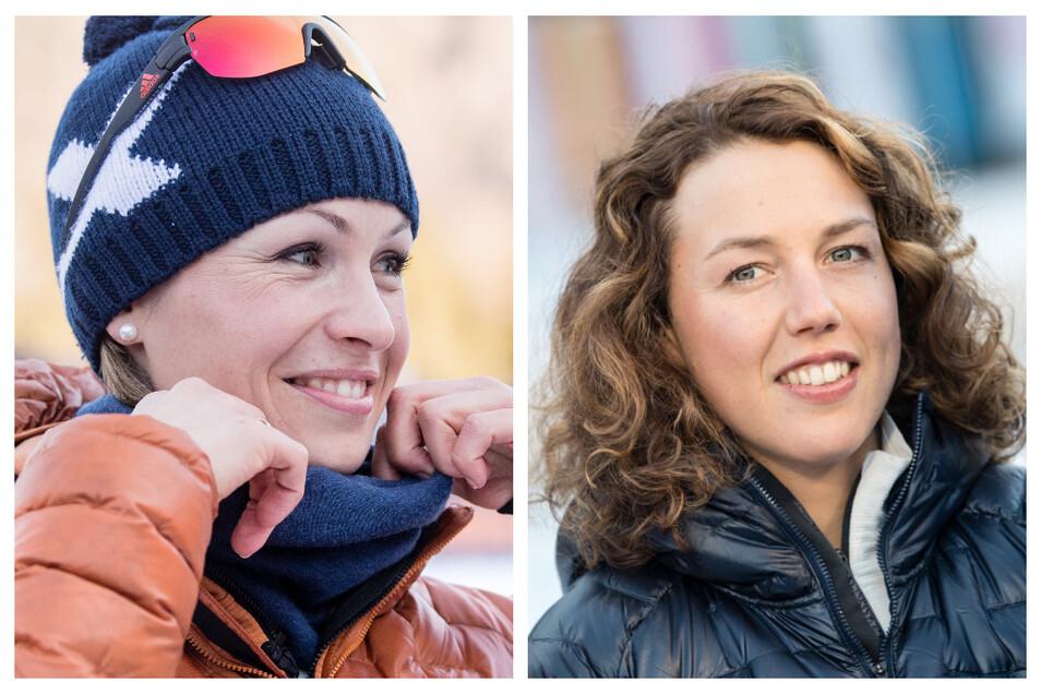 Die früheren Biathlon-Stars Magdalena Neuner (l) und Laura Dahlmeier sind bei der WM fürs Fernsehen dabei.