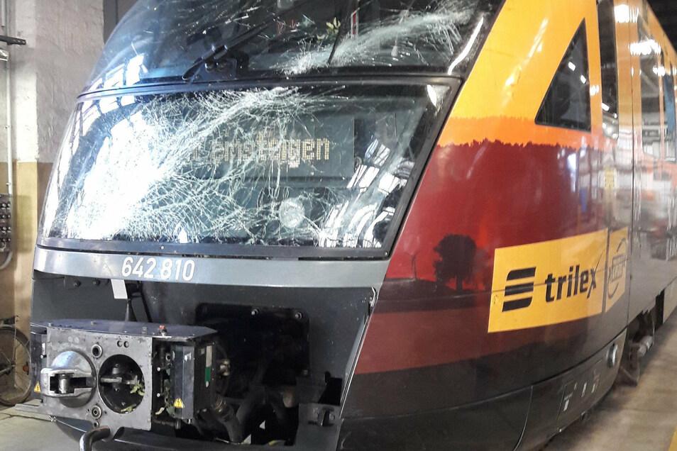 Bei Arnsdorf ist ein Zug der Länderbahn mit einem Baum zusammengestoßen.