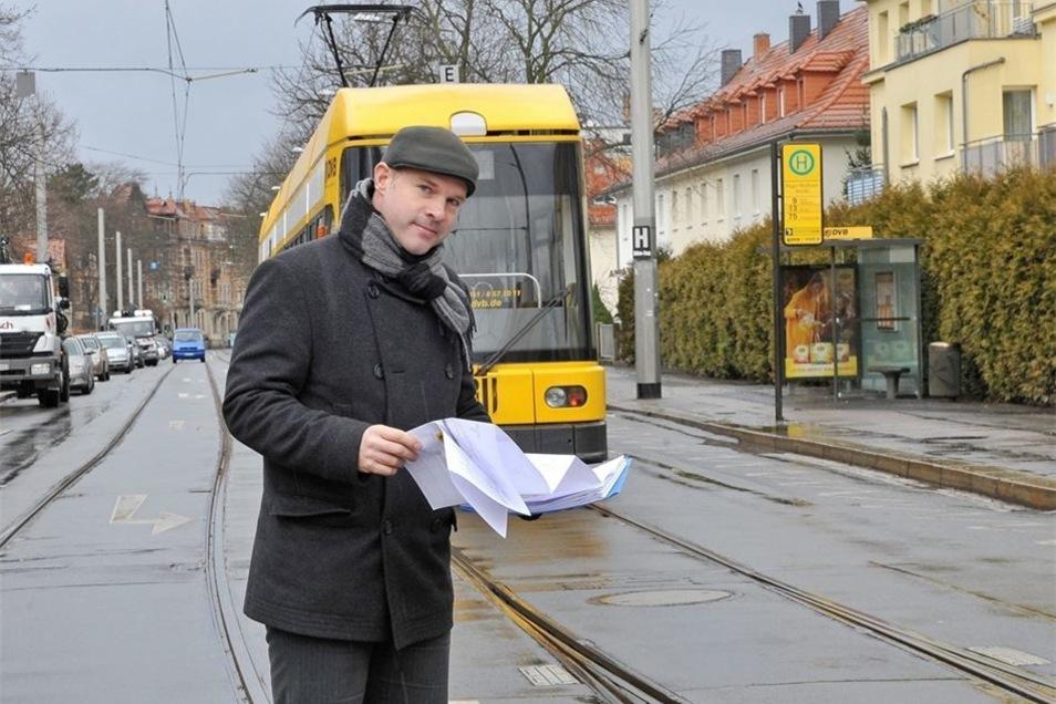 Für DVB-Projektleiter Andreas Neukirch nicht das einzige Projekt: Auch in der Lockwitzer Straße wird gebaut