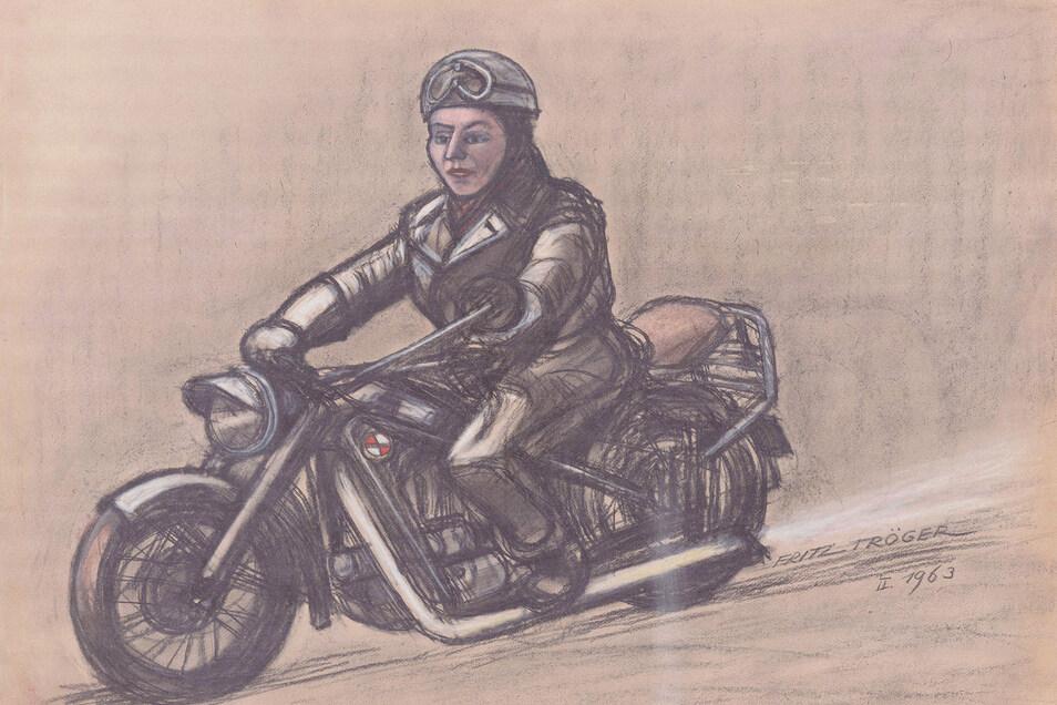 """Fritz Tröger malte 1963 diesen """"Motorsportler"""". Der Dresdner Künstler gilt als Chronist des Alltags. Menschen und Maschinen, Landschaft und Verkehr waren seine Themen."""