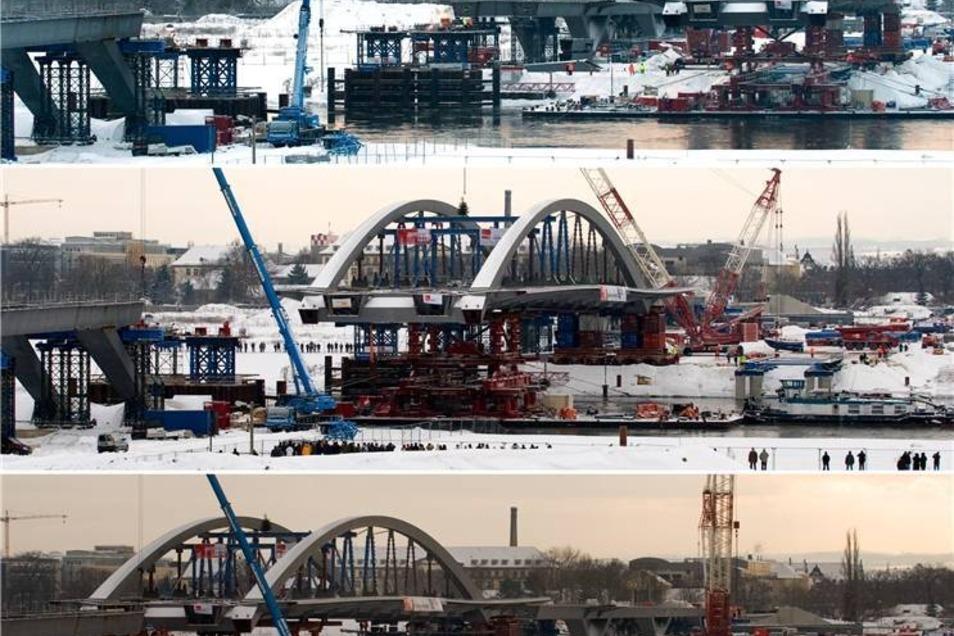 Bauarbeiten 2010  Die vormontierte Brückenkonstruktion wurde auf Pontons schwimmend mit Hilfe von Schwimmkränen in ihre endgültige Lage gebracht.