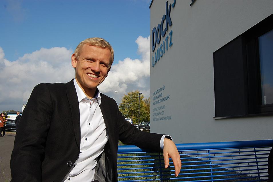 Christian Jurisch und seine Next Automotive Testing GmbH sind unter den ersten Mietern des Gründerzentrums in Schwarze Pumpe.