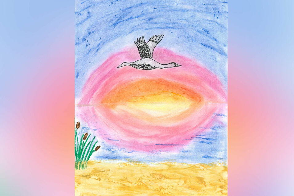 """Einen """"Abend am Meer"""" hat Lotta Bemmann in Mischtechnik mit Wasserfarben und schwarzem Fineliner nachempfunden. Was kann es Schöneres und Romantischeres geben, als einen ruhigeren Abend am Meer. Kein Lüftchen regt sich, kaum eine Welle kräuselt die See –"""