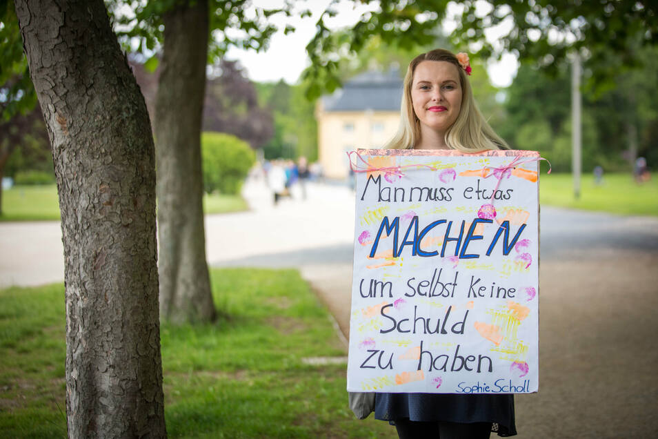Mit einem Zitat von Sophie Scholl kam Rica Pöhler in den Großen Garten.