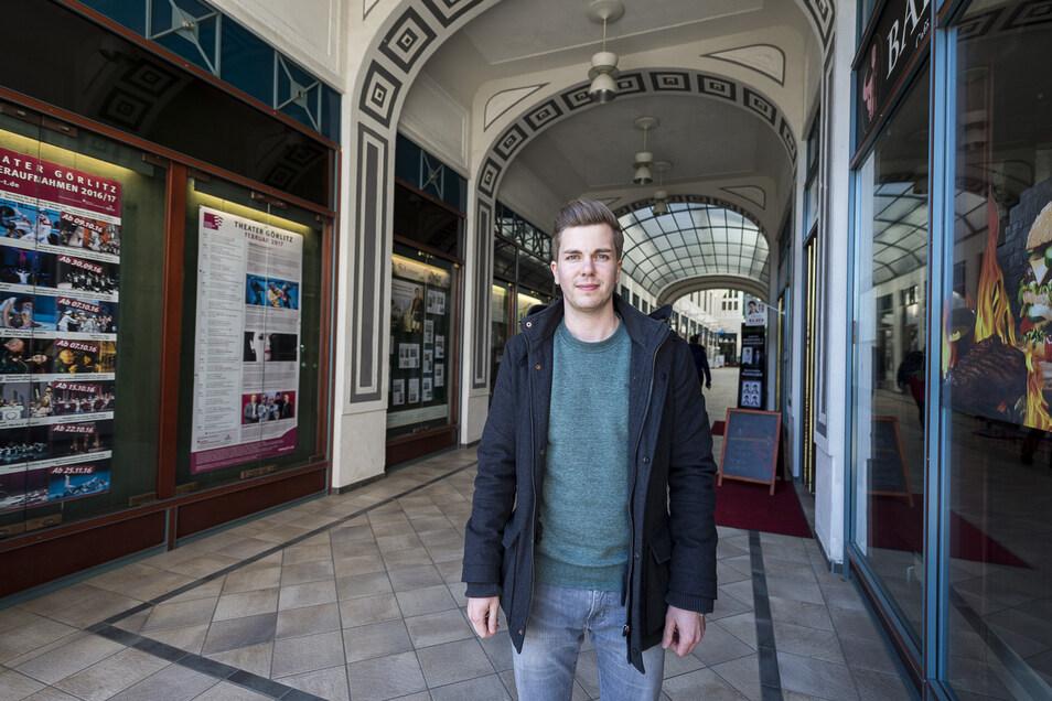 Tobias Heid verwaltet in Görlitz unter anderem die Straßburg-Passage. Mit seinen Mietern findet er gemeinsam Lösungen.