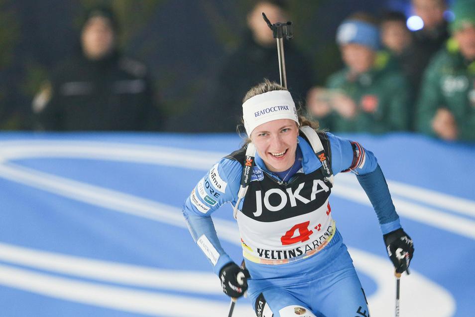 Die Biathletin Darja Domratschewa aus Belarus 2018 in Gelsenkirchen.