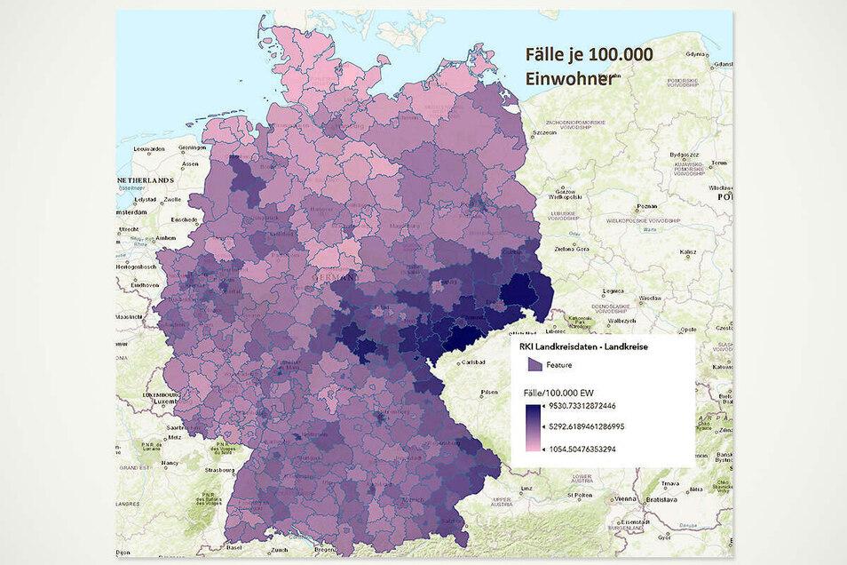 Vor allem in Sachsen und generell im Osten Deutschlands waren die Corona-Infektionszahlen pro 100.000 Einwohner höher als in den meisten Kreisen im Westen. Der Kreis Görlitz liegt auf Platz acht.