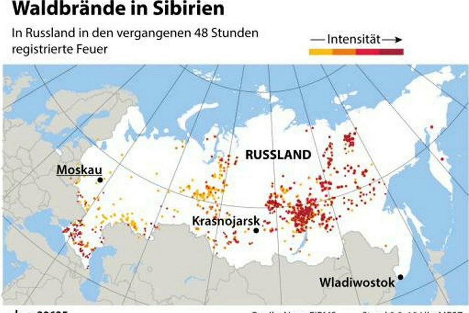 Feuer in Russland in den vergangenen 48 Stunden
