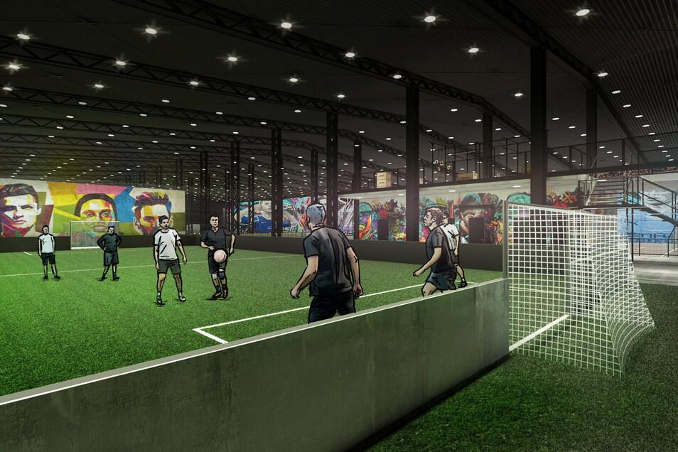 Im Kickwerk wird es vier Fußballfelder geben. Dazu locken noch mehre andere Sportarten.