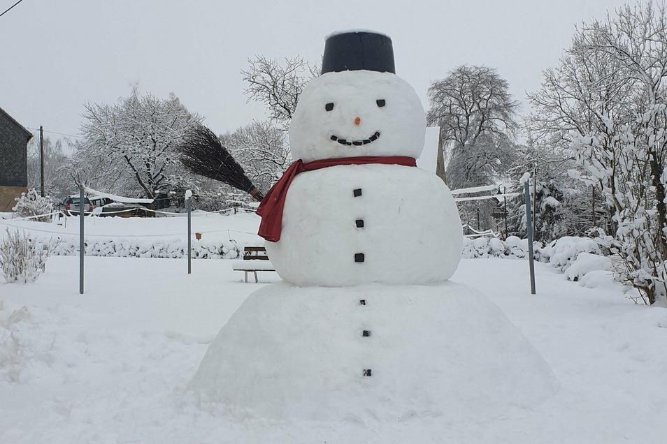 Gestatten: Ich bin Erwin, ein riesiger Schneemann. Den hat Familie Dietrich aus Colmnitz bei Klingenberg in ihrem Garten gebaut. Ganze 2,50 Meter hoch ist der Riese und damit nicht zu übersehen.