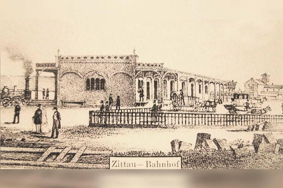 """Historische Zeichnung des ersten Zittauer Bahnhofes mit der Gaststätte """"Zur Burg"""" im Hintergrund."""