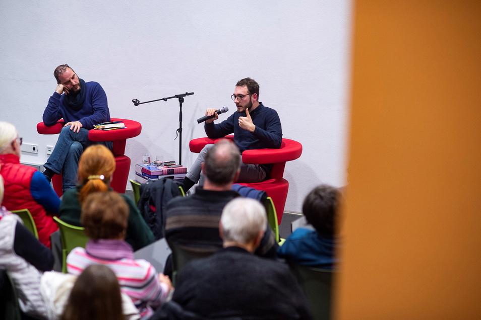 Lukas Rietzschel in der Diskussion mit dem Görlitzer Soziologen Raj Kollmorgen.