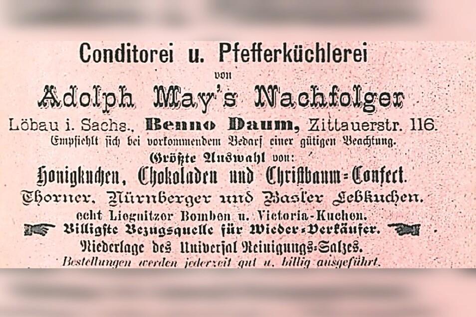 Gewerbeanzeige der Pfefferküchlerei Benno Daum im Löbauer Adressbuch von 1889.