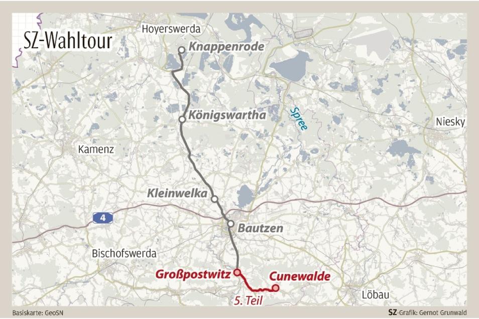 Die fünfte und letzte Etappe der SZ-Wahltour führte die Reporterinnen von Großpostwitz nach Cunewalde.