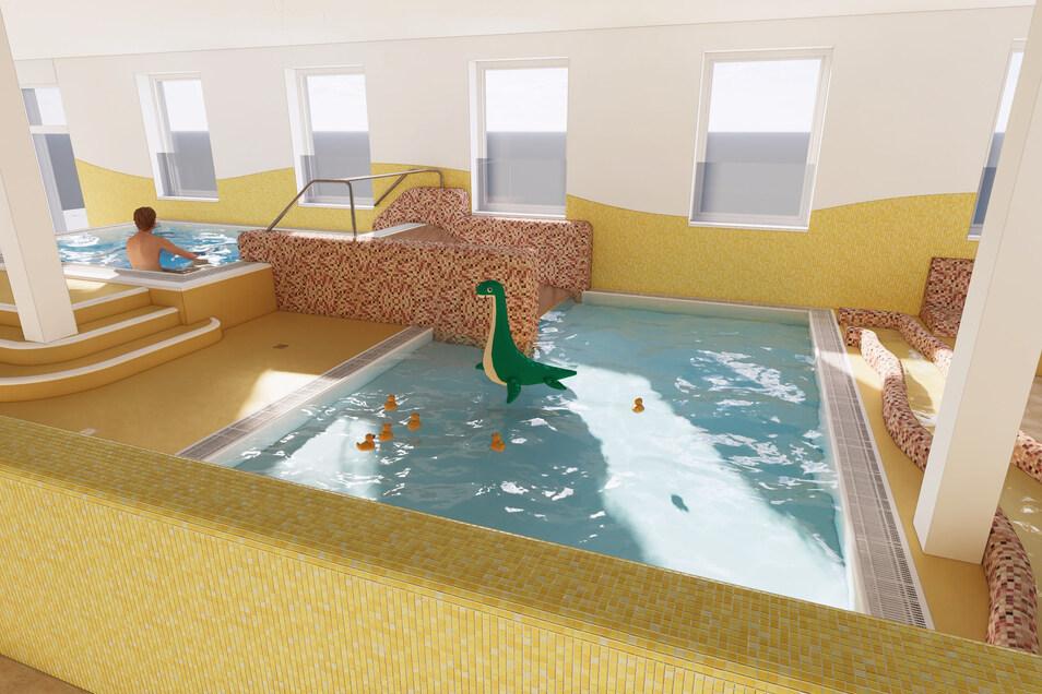 So stellen sich die Stadtwerke und das Bauplanungsbüro Schroeder die neuen Kinderbecken im Stadtbad vor.