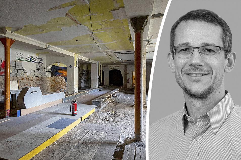 Im Keller wurde einst gekegelt. Jetzt ist es die Schwachstelle des Gebäudes.