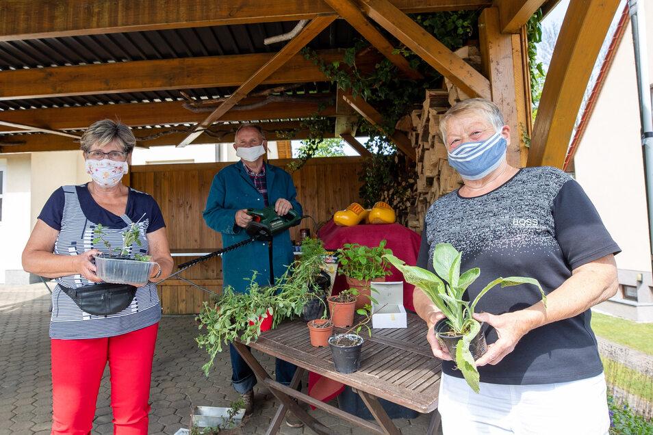 Sabine Gnauck, Roland Töppel und Ulrike Köhler richten im Carport alles für die Tauschbörse her.