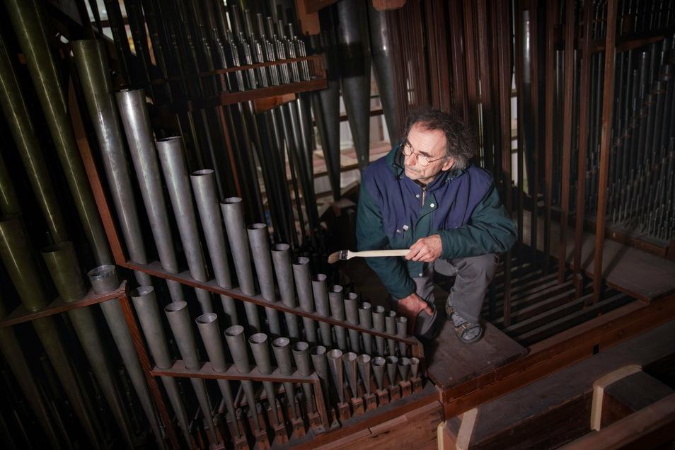 Mit dem Pinsel beseitigt Orgelbauer Andreas Hahn feinen Staub von der Silbermann-Orgel in der Dresdner Hofkirche. Das gehört mit zu den letzten Arbeiten nach der Decken-Instandsetzung im Hauptschiff.