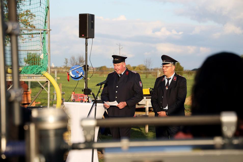 Zwei Ortswehrleiter, die bereits an einem Strang ziehen: Andreas Voigt (Mehltheuer, l.) und Jörg Poppe (Seerhausen)