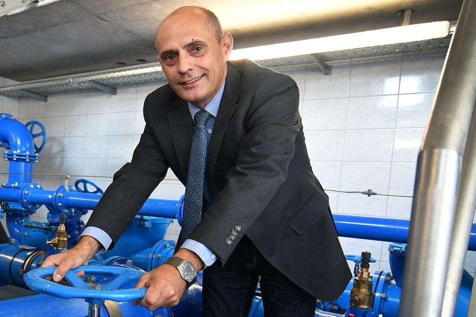 Stephan Baillieu , hier im Trinkwasserbehälter Eichhardt, ist der Geschäftsführer des Wasserverbandes Döbeln-Oschatz (DOWW).
