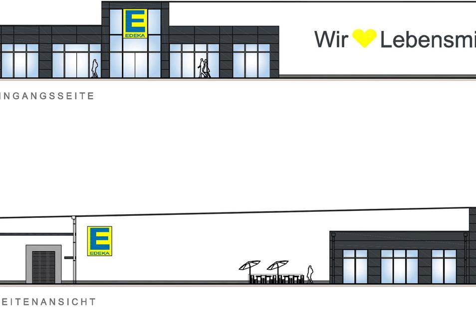 So soll der neue Edeka-Markt in Dipps aussehen, oben ein Teil des Marktes von der B 170 aus gesehen, unten die Ansicht vom Firstenweg aus.