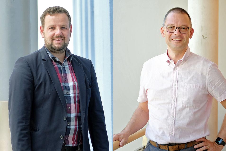 Der CDU-Kreisvorsitzende Sebastian Fischer (links) und der Zeithainer Bürgermeister Ralf Hänsel stellten sich in Meißen vor. Wer von beiden als Landratskandidat der CDU zur Wahl im November antritt, wird am 26. Juni in Weinböhla entschieden.