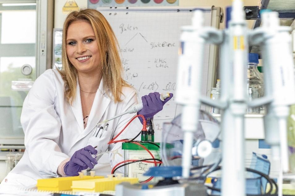Seit Februar arbeitet Kaat Verhofstadt regelmäßig im Labor auf dem BA-Campus in Riesa. Die Chemiestudentin aus Belgien wollte ihre Abschlussarbeit unbedingt dort schreiben.