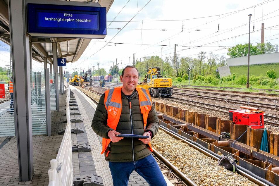 Gleis 5 im Coswiger Bahnhof wieder in Betrieb gehen - sagt DB-Projektleiter Mathias Domschke.