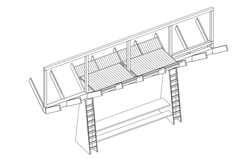 """Platz 1: Herzstück der überdimensionalen """"Futterkrippe"""" ist eine rund 3,50 Meter lange Tafel zum Picknicken, über Leitern geht es auf den Schlafboden, auf dem vier Personen Platz haben."""