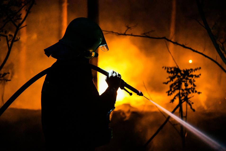 Ein Feuerwehrmann bekämpft mit einem Wasserstrahl einen Waldbrand bei Ziltendorf.