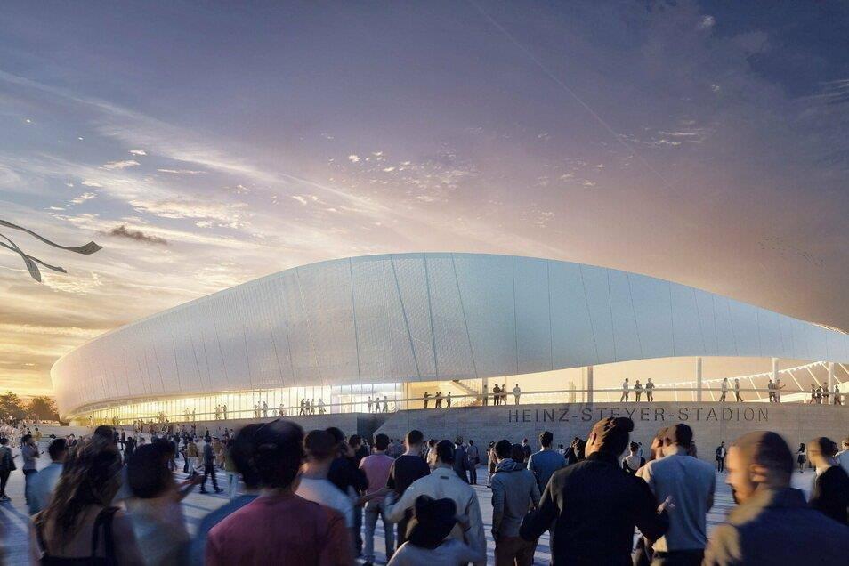 So soll das umgebaute Heinz-Steyer-Stadion aussehen, wenn es im September 2023 fertig ist.